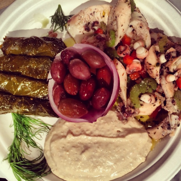 a trio of delish mezze (8.95) comes with lots of greek olives and a big basket of warm pita